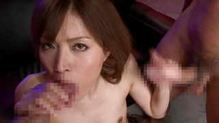 horny japanese milf playing with two cocks