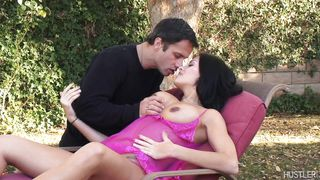 brunette pleases her lover in backyard @ natures best breasts