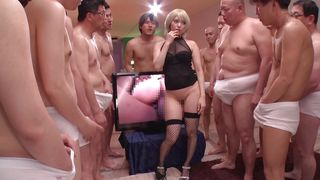 horny asian babe playing with dicks