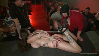 sexy babe gets tied up in the theatre