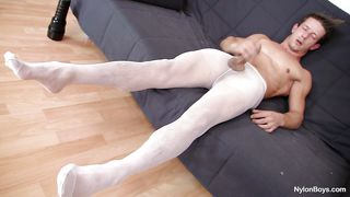 hot gay boy cums on his nylons