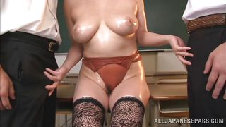 oiled teacher has massive breasts