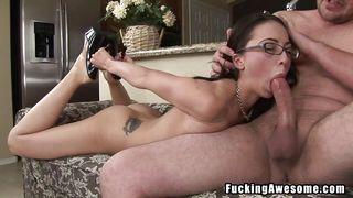 slim dorky brunette has a mouthful of cock