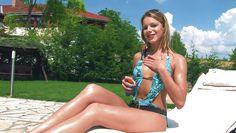 blonde bikini babe suntans and masturbates