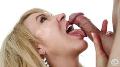 blonde mature slut takes big cock down her throat