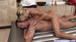 blonde babe knows how to give a perfect soapy massage