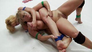 lesbian lovers make fight and make up in the wrestling ring