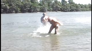 gay men frolic in the lake and fuck