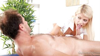 she tugs him off @ full service massage #02