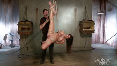 tied up slave gets a whole hand in her vagina
