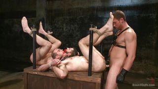 sadistic gay threesome turns into a hot orgy