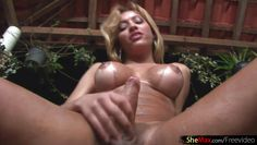 blonde tranny loves sticky fruit on her bigtits and shecock
