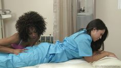 interracial lesbian sex in the check up room