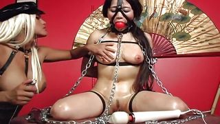 asian slut bound in chains and gagged