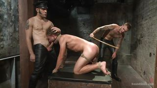bounded stud gets his ass whipped and fucked