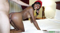 ebony teen in a beanie gets rammed