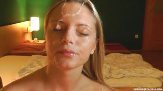 hot, thick streams of jizz on her face and hair