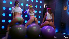 hot playboy models having fun with medicine balls