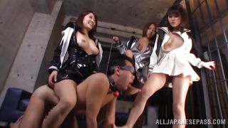 gagged slave is humiliated by three hot japanese schoolgirls