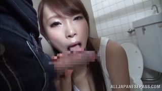 beautiful japanese girl sucks cock in a toilet