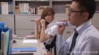 sexy japanese teacher uses her coworkers vibrator