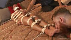 rod is comfortably restrained and teased