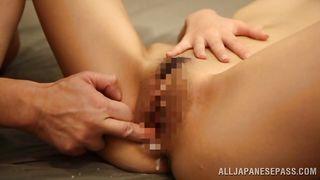 japanese brunette gets filled with cum