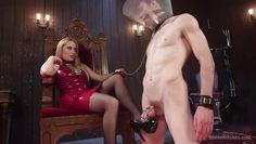 blonde milf tortures her slave