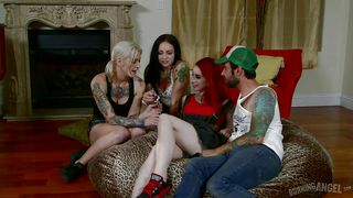 three tattooed bitches play with cock