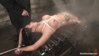Tattooed Wet Brunette Tied And Fucked With A Stick