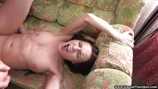 Tiny-tit Teen Fucks Boyfriend On The Couch PornZek.Com