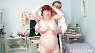 Chubby Granny Redhead Needs An Exam For Her Tits And Anus