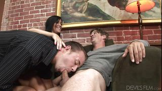 Brunette Gets Threesome With Bisexual Dudes  Husband Wife Cock Swappers #02