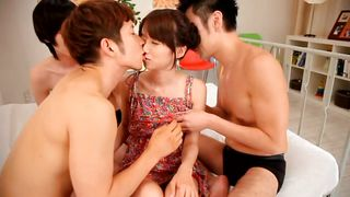 Three Guys Having Fun With A Shy Japanese Babe