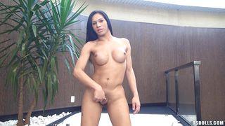 Naughty Naked Ladyboy Jerking Off