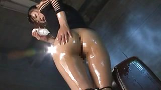 Olied Asian Babe Masturbates Herself On Couch Arm