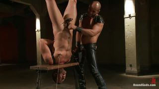Upside Down Tied Gay Receiving Punishment And A Hard Cock
