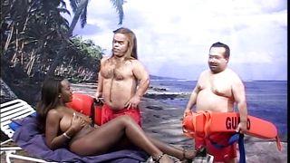 Ebony Slut And Two Lifeguards Midgets
