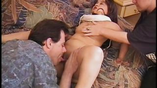Midget Women In Bed With Two Guys