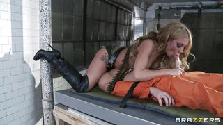Curly Hair Blonde With Big Breasts Tortures A Convict PornZek.Com