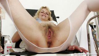Mature Blonde Nurse Masturbating At The Work