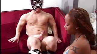 Masked Midget Receives Head From Ebony Chick