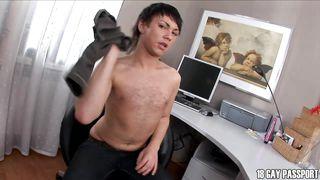 Brunette Gay Twink Enjoying His Hard Dick