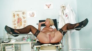 Granny Blonde Nurse With Big Boobs Masturbating At Workplace