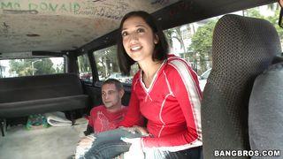 Hot Brunette Gets Inside The Bus