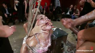 Pretty Girl With Pink Lips Humiliated Then Covered In Milk
