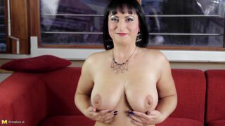 Milf Brunette With Round Boobs Masturbating On The Couch