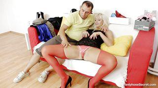 Pantyhose Secret-Lucky Guy Lick Sexy Blonde Tight Vagina PornZek.Com