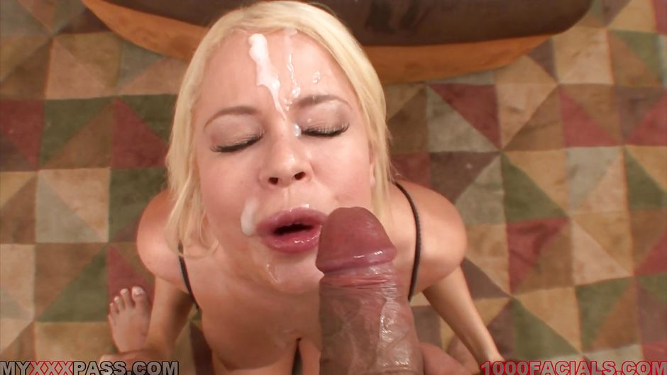 Cocksucking stud covers babes face with jizz