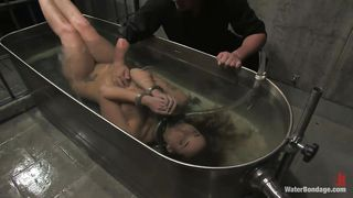 Brunette Handcuffed And Submersed In Water